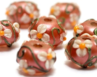 Ivory Mist Flower on Coral Rondelle Beads - 10706201 Handmade Glass Lampwork Beads