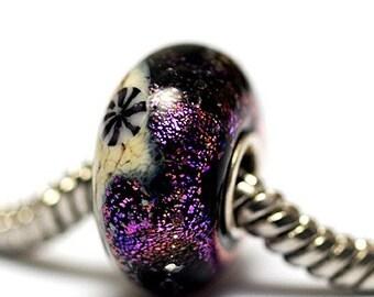 Large Hole Amethyst Jewel Celestial Rondelle - SC10112-Handmade Glass Lampwork Beads