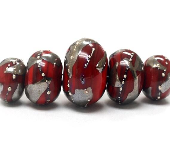 Five Graduated Regal Red Metallic Rondelle Beads - Handmade Lampwork Beads - 10704211