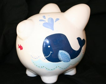 piggy bank hand painted personalized jackson the whale
