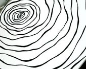 CUSTOM Bowl - HandMade TO ORDER Black & White Painted Graphic Design Serving Dish - Faux Bois Tree Wood Grain, Topography Map, Fingerprint