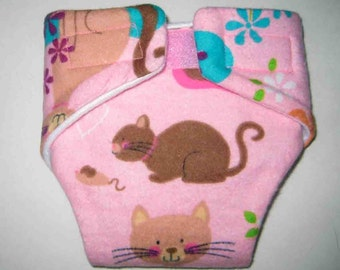 Baby Doll Diaper/Wipe (Cloth)-Cat and Mouse Playing-Fits Bitty Baby Alive, Cabbage Patch, American Girl Dolls and More