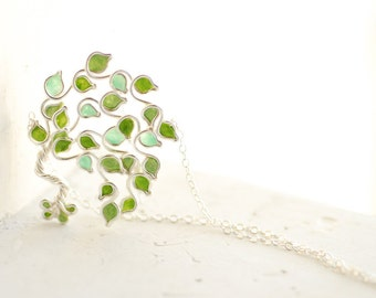 Lime Green Necklace, Fruit Tree Jewelry, Vegan Foodie Gift
