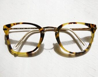 Italian 1980's 14k GF Oversized Panto Hornrim Eyeglass Frames Made in Italy Yellow Tortoise