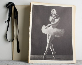 Vintage Ballerina Print - Book Plate - Mia Slavenska - Swan Lake - Ballet Dance Photograph