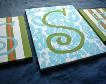 Large Monogram Canvas Set in Turquoise and Lime
