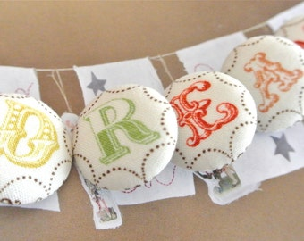 Handmade Country Fun Circus Cream Red Orange Green Monogram Alphabet Letter Fabric Covered Button, CHOOSE LETTER, 1.1 inches 1's