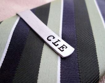 Personalized Men's Skinny Tie Bar - Monogramed Tie Clip - Aluminum Tie Bar -