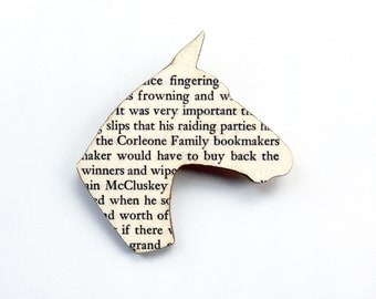 The Godfather - Horse brooch. Classic book brooches made with original pages.