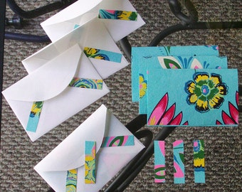 4 light blue floral notecards with matching envelopes