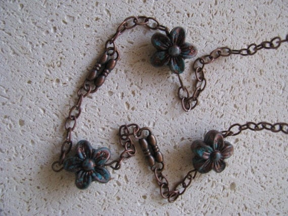 Turquoise Patina Flower and Copper Necklace
