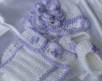 Crochet Diaper Cover, Crochet Baby Booties, Crochet Baby Hat, Newborn Baby Outfit, Baby Crochet, Photo Prop Baby Set, White and Lilac Baby