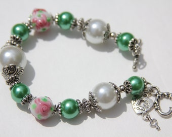 CLEARANCE  - Handmade Green, Pink and White Floral Lamp Work Bracelet, Custom Jewelry, One of a kind bracelet, Pearl Jewelry, Pearl Bracelet