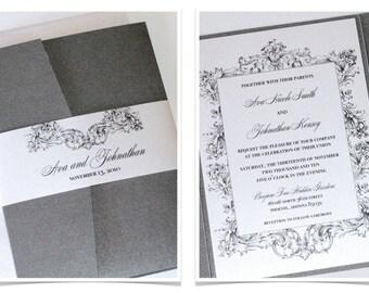 Vintage Wedding Invitation - Elegant Wedding Invitation - Romantic Wedding Invite - Lace Invitation - Pewter Grey White - Ava Sample