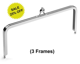 "3pcs - 10"" x 4"" Nickel Purse Frame with Teardrop Clasp - Free Shipping (PURSE FRAME FRM-132)"