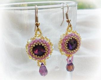 Rivoli Purple Yellow Swarovski Beaded Beadwoven Earrings Dangle Unique Jewelry Deep Purple