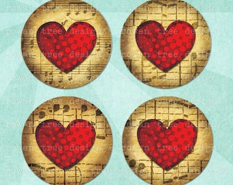 Digital Collage Sheet HEARTS ON MUSIC 1.5in or 1in Circles Love Valentine - no. 0137