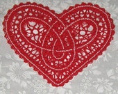 Battenburg Lace Red Heart, with white