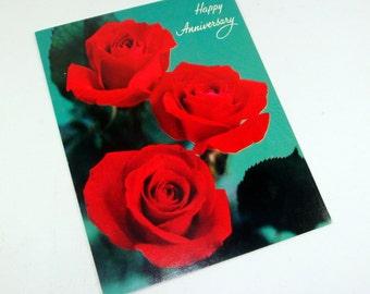 Vintage Red Rose Happy Anniversary Greeting Card, Unused  (119-13)