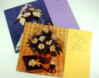 Retro Greeting Cards, Thinking Of You, Friendship, Anniversary, Religious, Bible Verse, Yellow, Purple, Flowers, Daisies, Floral  (662-13)