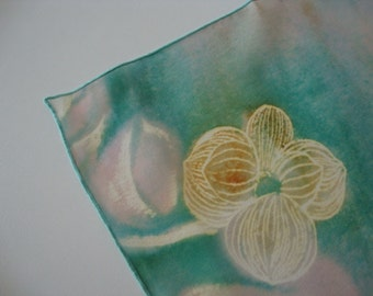 Vintage Scarf square scarf sheer scarf blue scarf dogwood flowers turquoise blue neckerchief tulip blooms spring flowers seafoam blue