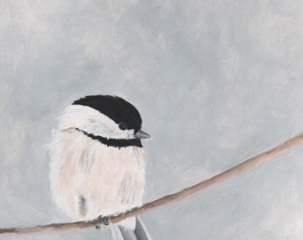 Chickadee Bird Print - Gray and White Neutral Colors - Garden Wildlife Series - 8x10