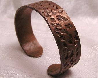 Vintage Solid Copper Handmade Cuff Bracelet Rustic Design J52