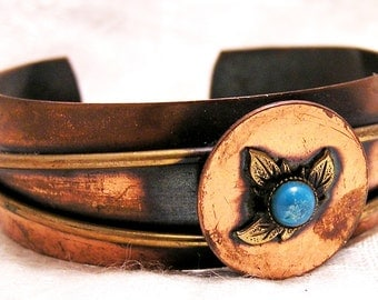 Vintage Copper Cuff Bracelet with Turquoise Colored Stone Set In Brass Leaves J57