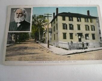 Antique Postcard    Longfellows Birthplace Portland Maine