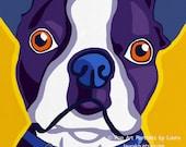 Pop Art Boston Terrier Dog Print of Painting
