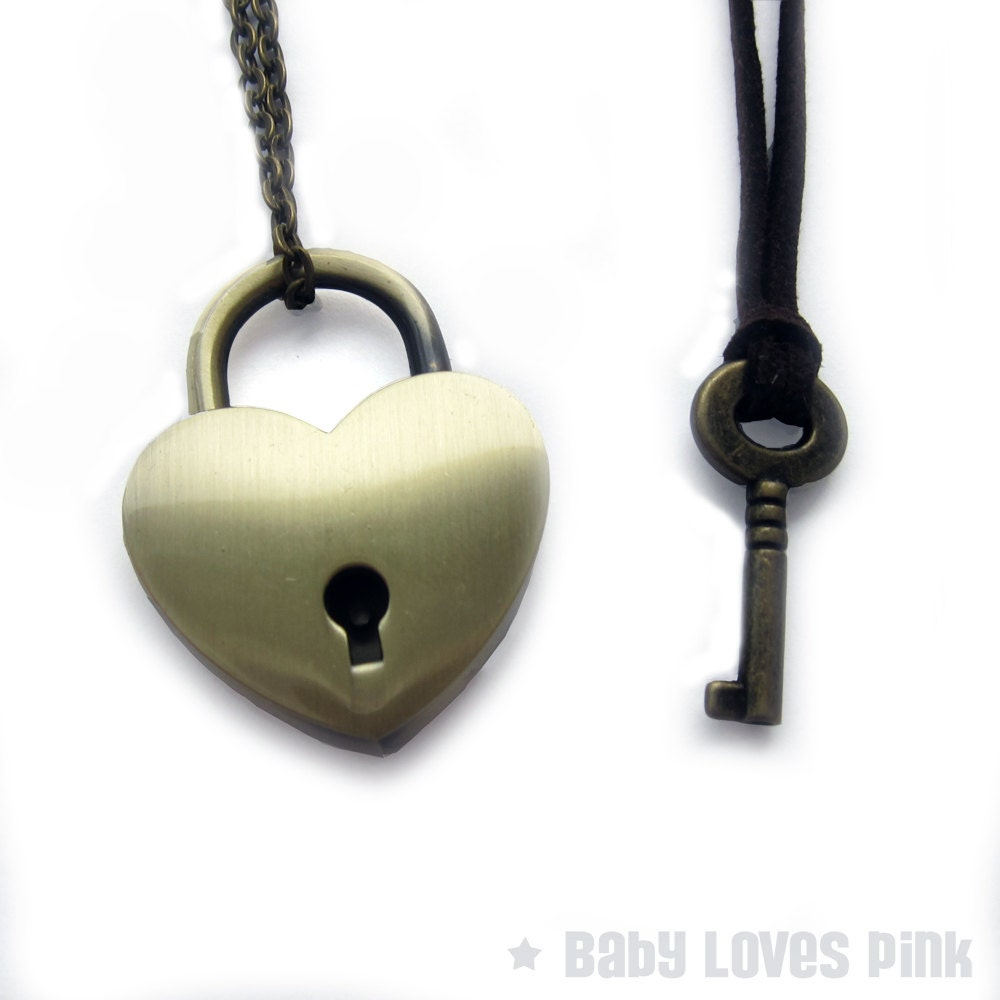 Bronze Heart Lock and Key Couples Necklace Real working Lock