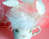 Glimmer White Angel Wings Cupcake Toppers For Baby Showers, First Communion, Confirmation, Gender Reveal
