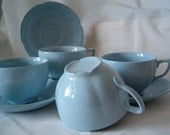 Cups and Saucers Vintage Johnson Bros Graydawn 4 Cups and 3 Saucers
