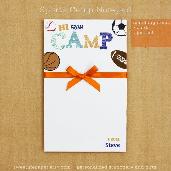 Personalized Stationary - Sports Camp Notepad Stationary
