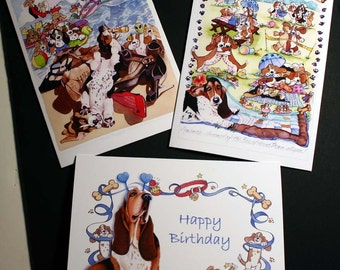 Basset Hound Birthday Celebration 3 Card Collection blank inside