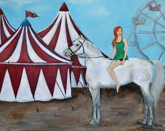 Sale 30% Off // At the Circus - Original Acrylic Painting, 24 x 36 inches // Coupon Code SALE30