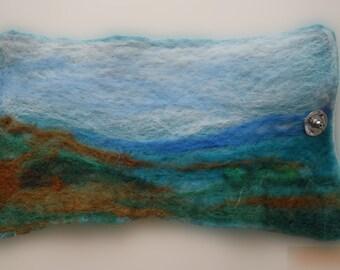 Art felt landscape cuff bracelet by Fibreromance