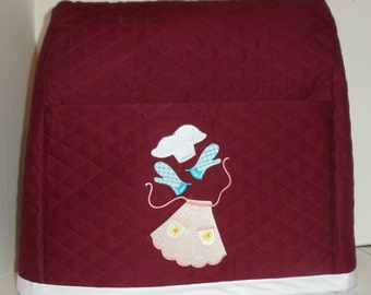 Cute Mixer Cover-Burgandy/Berry with Apron