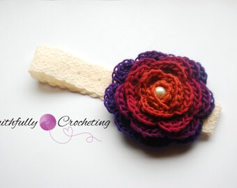 OOAK Newborn Crocheted  Rose Headband... Photo prop... Ready to ship