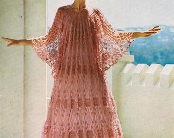 1970s Crochet Pattern PDF Misses' Delicate Lacy Caftan Size Bust 34 - Bust 36
