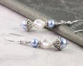 Blue Pearl Earrings Spring Fashion Bridal White Wedding Sterling Silver Bridal Collection