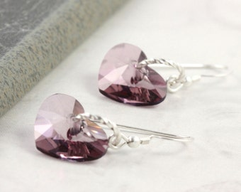 Valentine Heart Earrings Antique Pink Crystal Sterling Silver Dangle Simple Dainty Minimalist Dusty Rose Mauve