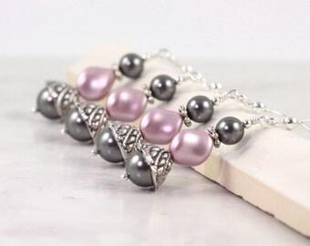 Dusty Rose Earrings Gray Pearl Earrings Bridal Earrings Wedding Fashion Pastel Pink Bridesmaid Jewelry Mauve Pink Jewelry Pink Pearl Jewelry