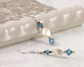 Cream Pearl Earrings Teal Blue Crystal Sterling Silver Ear Wires Mothers Day Jewelry