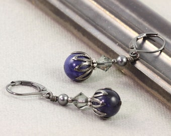 Blue Gemstone Earrings Wedding Fashion Gray Pearl Jewelry Gray Crystal Sodalite Fall Fashion Mothers Day Jewelry