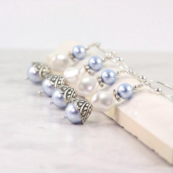 Pastel Blue Pearl Earrings Bridesmaid Earrings Something Blue Wedding Earrings Baby Blue Jewelry Blue Bridal Earrings White Pearl Earrings