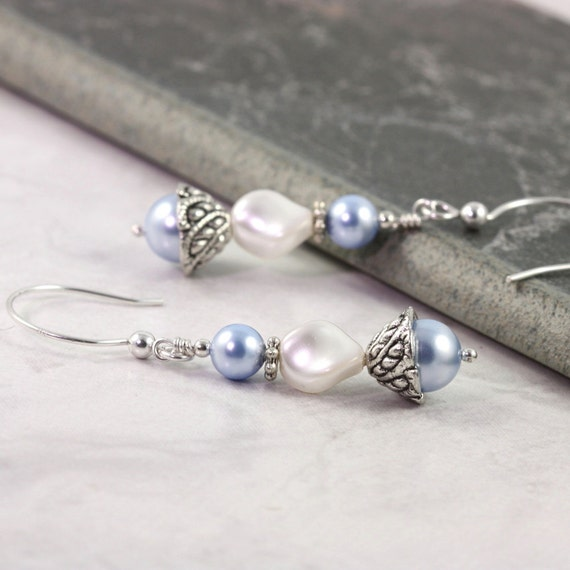 White Pearl Earrings, Baby Blue Jewelry, Winter Wedding, Blue and White Bridal Jewelry, Sterling Ear Wires