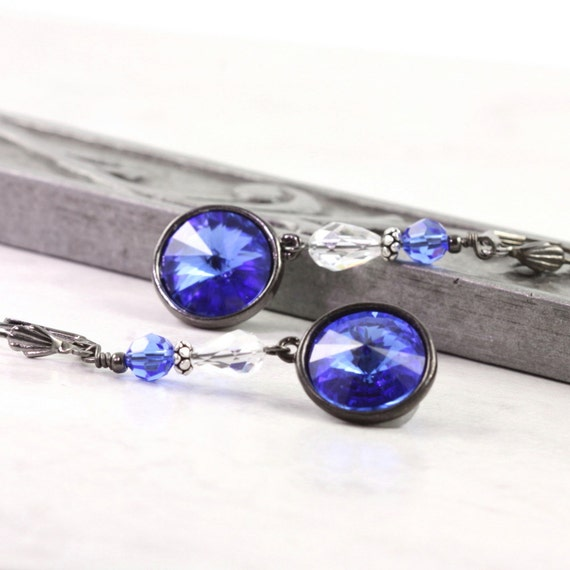 Sapphire Earrings Royal Blue Crystal Gray Gunmetal Drops