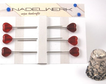 Transparent Red Heart Straight Pin Topper - Set of 6 extra long glass head pins
