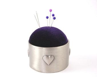 Pincushion 'Hearts' royal purple velvet and